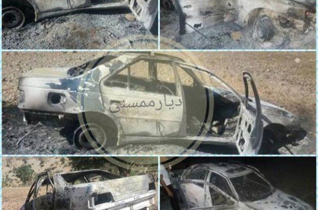 واژگونی و انفجار خودروی شهروند گچسارانی در نورآباد+تصاویر