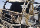 واژگونی تریلر حامل شکر و آتشسوزی خودور در محور لیشتر گچساران+تصاویر